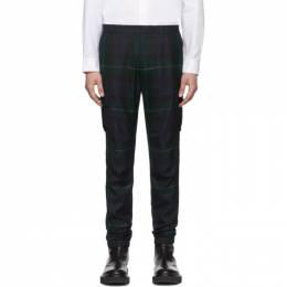 Paul Smith Black and Green Blackwatch Cargo Pants 201260M19104603GB