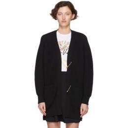 Versace Black Wool Safety Pin Cardigan 201404F09511503GB