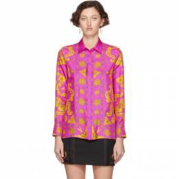 Versace Pink Baroque Western Shirt 201404F10910404GB