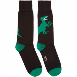 Ps by Paul Smith Black and Green Big Dino Socks 201422M22003601GB
