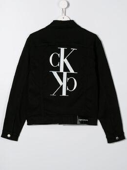 Calvin Klein Kids TEEN rear logo denim jacket IU0IU00072