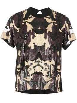 Nicole Miller футболка с камуфляжным принтом и пайетками BH10452