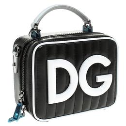 Dolce&Gabbana Black/White Coated Canvas DG Girls Crossbody Bag 248438