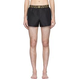 Versace Underwear Black Greek Key Swim Shorts 201653M20802505GB