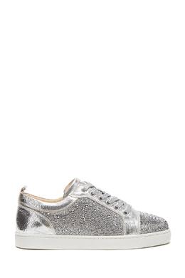 Серебряные кроссовки louis junior strass woman flat Christian Louboutin 106150591