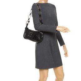 Saint Laurent Paris Black Corset Patent Leather Ring Handle Shoulder Bag