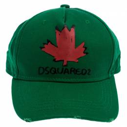 Dsquared2 Green Maple Print Distressed Baseball Cap