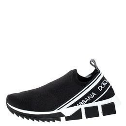 Dolce&Gabbana Black Stretch Fabric Sorrento Slip On Sneakers Size 45