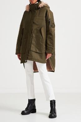 Зеленая куртка с подкладом из меха Yves Salomon 2024167354