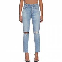 Citizens Of Humanity Blue Liya High-Rise Classic Fit Rip Jeans 1577-749