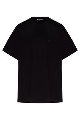 Черная футболка оверсайз с вышитым логотипом Balenciaga 397168644