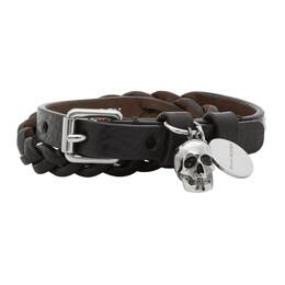 Alexander McQueen Black Braided Leather Wrap Bracelet 5544661ACRY