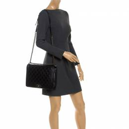 Chanel Black Quilted Lambskin Leather Large Boy Flap Bag