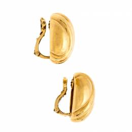 Cartier Textured 18K Yellow Gold Clip-on Oval Stud Earrings