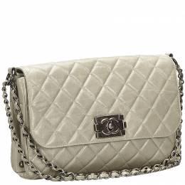 Chanel Gray Matelasse Leather Boy Flap Bag