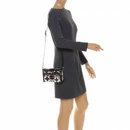 Louis Vuitton Black/White Graphic Print Leather Petite Malle Clutch Bag