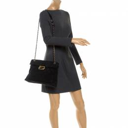 Fendi Black Zucca Canvas Maxi Baguette Flap Shoulder Bag