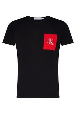 Черная футболка с ярким рисунком Calvin Klein 596169049