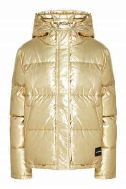 Короткий пуховик золотистого цвета Calvin Klein 596169264