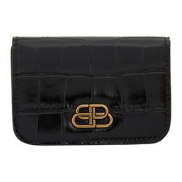 Balenciaga Black Croc Mini BB Wallet 601387-1LRIM