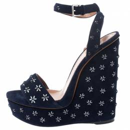 Alaia Navy Blue Floral Cutout Studded Suede Platform Wedge Sandals Size 41