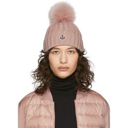 Moncler Pink Fur Pom Pom Beanie F10933B70201A9327