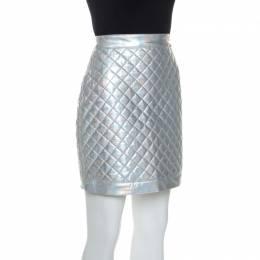 Balmain Metallic Holographic Quilted Mini Skirt M