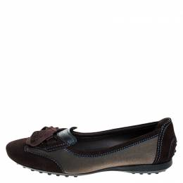 Tod's Brown Suede, Mesh And Blue Leather Lace Bow Ballet Flats Size 38 Tod's