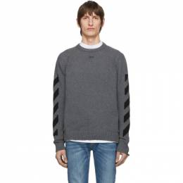 Off-White Grey Melange Arrows Sweater OMHE023R20G730180710