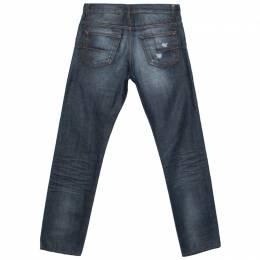 Dior Blue Denim Distressed Pocket Slim Fit Jeans S