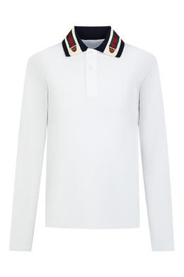 Белое поло с контрастным воротником Gucci Kids 1256161941