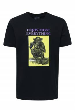 Черная футболка с принтом Diesel 1352172679