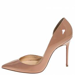 Christian Louboutin Beige Patent Leather Iriza D'orsay Pumps Size 37