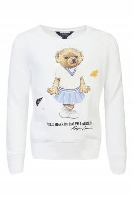 Белый свитшот из хлопковой ткани Ralph Lauren Kids 1252173310