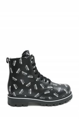 Черные ботинки с логотипом Moschino Kids 3128173323