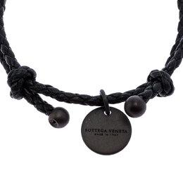 Bottega Veneta Black Intrecciato Leather Double Band Bracelet