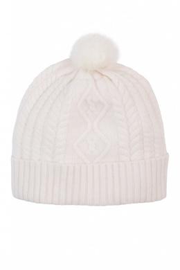 Вязаная белая шапка с меховым помпоном Max & Moi 2919174604