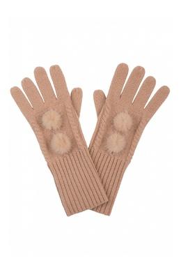 Бежевые перчатки, украшенные меховыми помпонами Max & Moi 2919174610