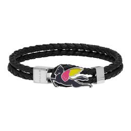 Etro Black Leather Pegaso Bracelet 1t853 9320