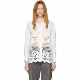 See By Chloe White Poplin Floral Embroidery Shirt CHS20SHT38022