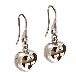 Gucci Love Britt Pink Stone Silver Drop Hook Earrings