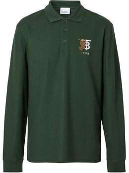 Burberry рубашка-поло с вышитым логотипом 8025759