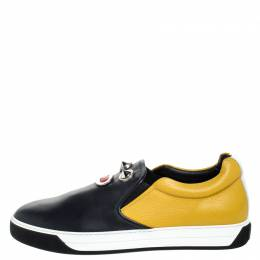 Fendi Mulitcolor Leather Face Detail Slip On Sneakers Size 43