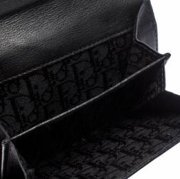 Dior Black/White Brogues Patent Leather Compact Wallet