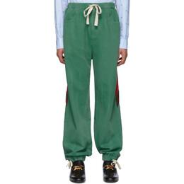 Gucci Green Denim Web Lounge Pants 604181 XDAYG