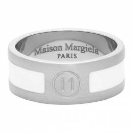 Maison Margiela Silver and White Enameled Logo Ring S50UQ0051 S12642