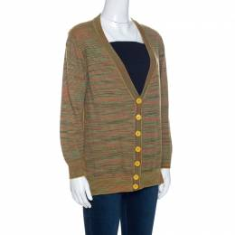 M Missoni Yellow Knit Silk Paneled Button Front Cardigan M