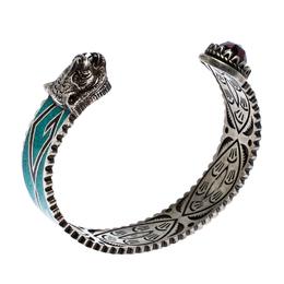 Gucci Garden Feline Head Motif Enamel Silver Open Cuff Bracelet
