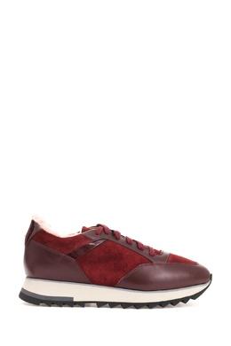 Бордовые утепленные кроссовки Santoni 1165177200