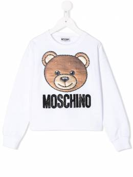 Moschino Kids TEEN sequin teddy embroidered sweatshirt HDF02GLDA12